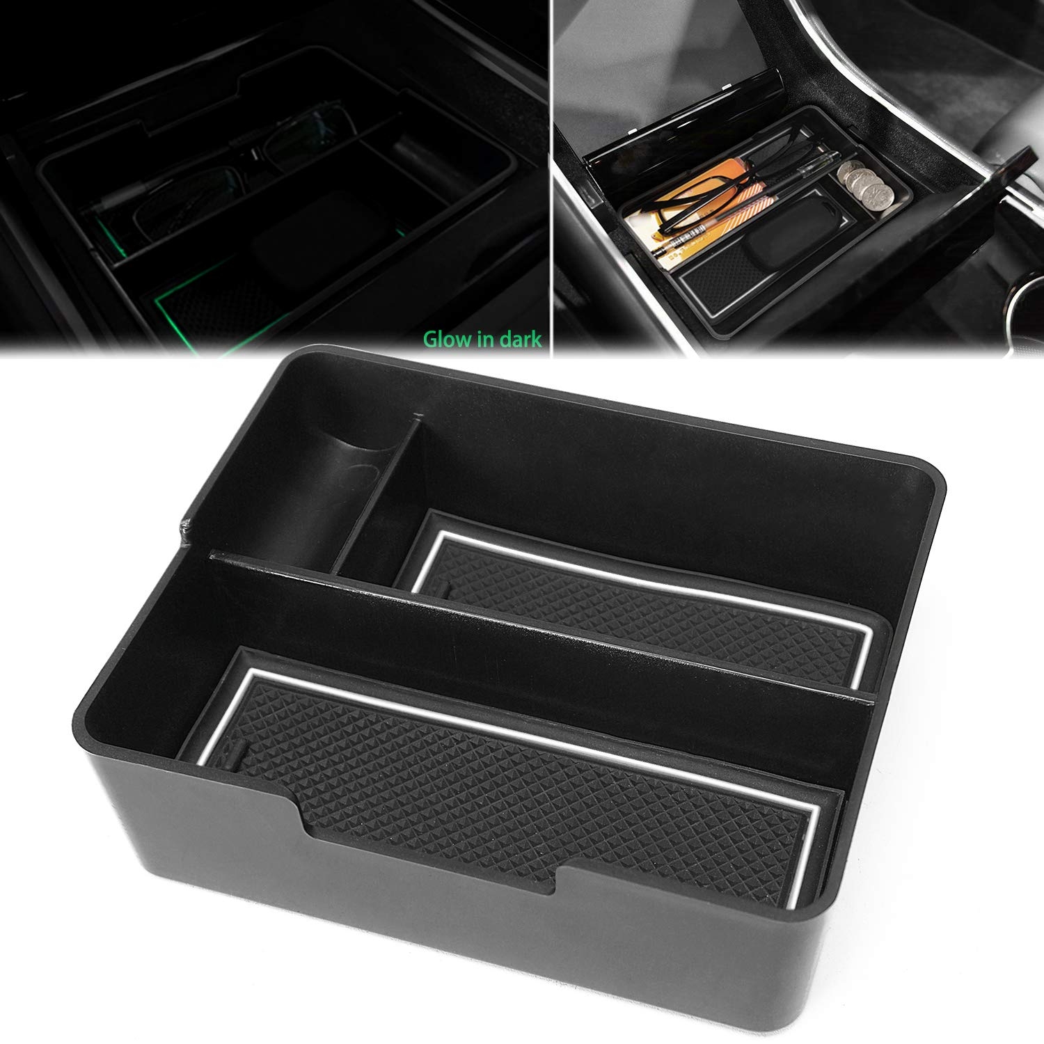 Black Trim Auovo Center Console Organizer Tray Fits for Tesla Model 3 Interior Accessories Secondary Storage Box with Coin Holder