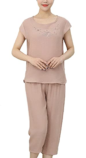 Pijama Mujer Tops+ 3/4 Pantalones Dos Piezas Tallas Grandes Elegante Manga Corta Cuello Redondo Impresión Floral Sencillos Diario Anchas Casual Verano ...
