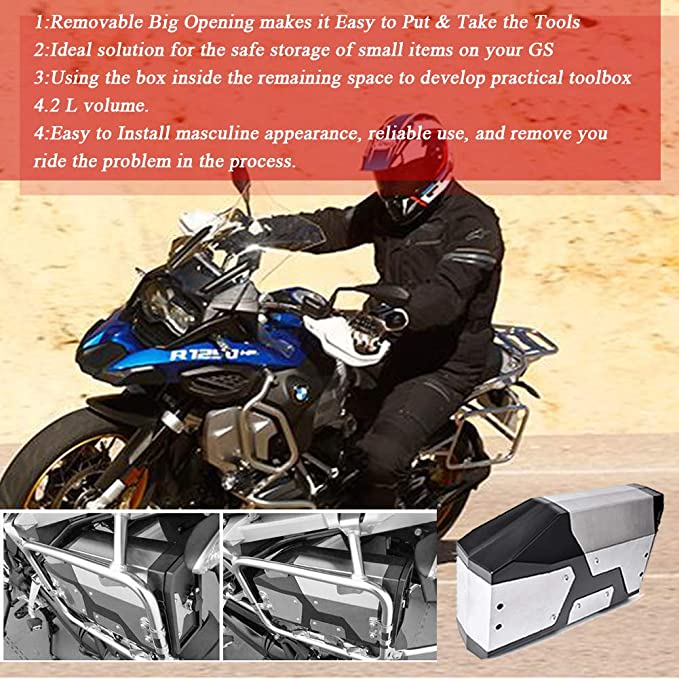 Facibom Motorcycle Box Toolbox 5 Liters for Left Side Bracket for R1250GS LC Adventure R 1250 GS Tool Box 2019-2020