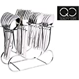 Quality Cops Stainless Steel Spoon Holder Stand Cutlery Set (Silver)