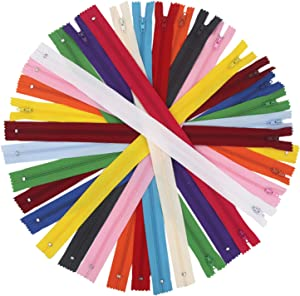 EuTengHao 100 Pcs Nylon Coil Zippers 14 Inch Colorful Sewing Zippers Bulk Supplies with Zipper Presser Foot for Tailor Sewing Crafts Clothing Bags Handicrafts (20 Colors)