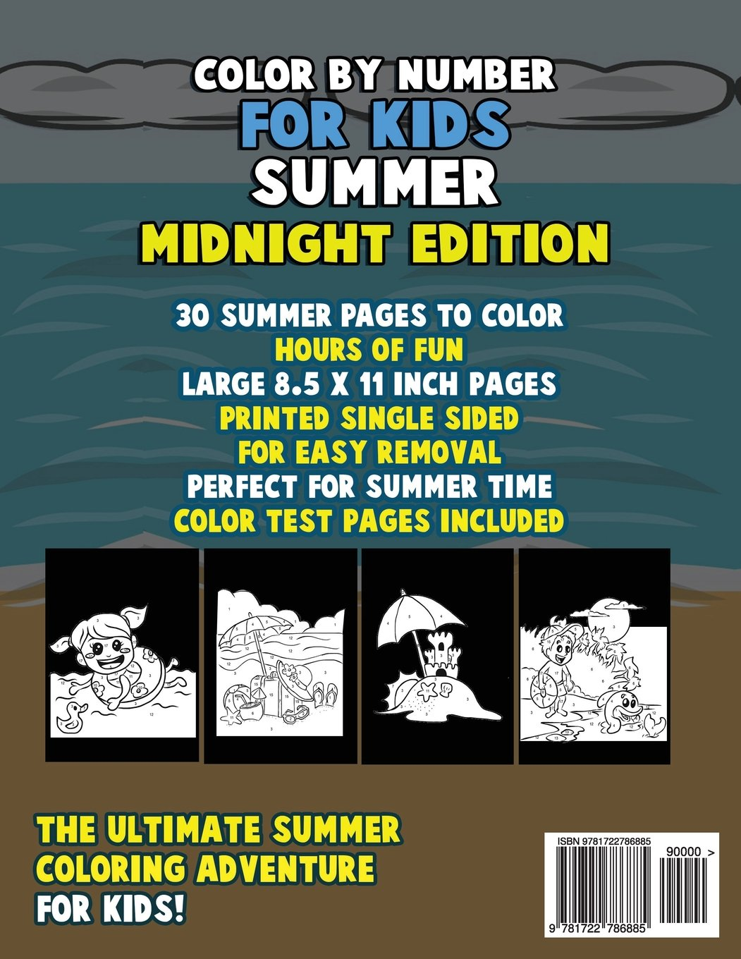 Color by Number for Kids: Summer Coloring Book Midnight Edition ...