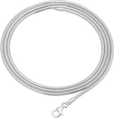 STERLING SILVER CHUNKY ROUNDED SNAKE NECKLACE 2mm VAROUS LENGTHS AVAILABLE