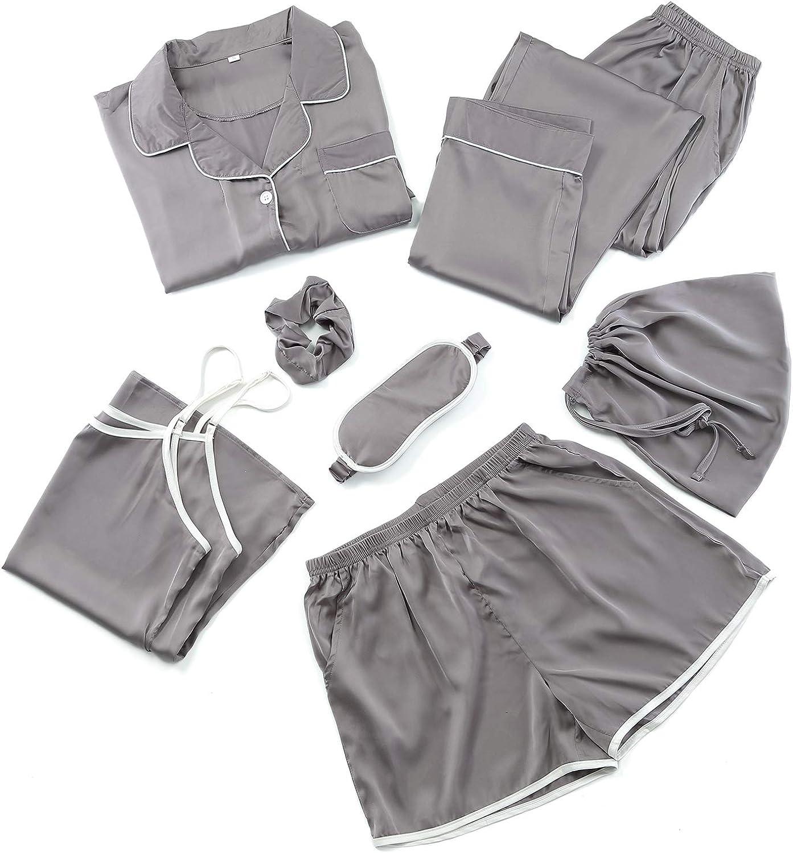 7pcs Silk Satin Pajama Set Cami Shorts Sleepwear Button Down Night Shirt Pjs Loungewear COCOHOME Pajamas for Women
