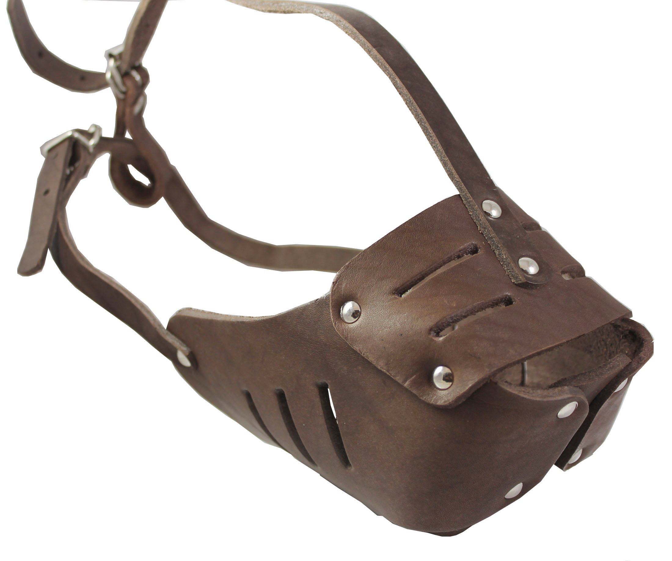 Real Leather Cage Basket Secure Dog Muzzle #130 Brown - Rottweiler, Boxer (Circumference 13.5'', Snout Length 3.5'')