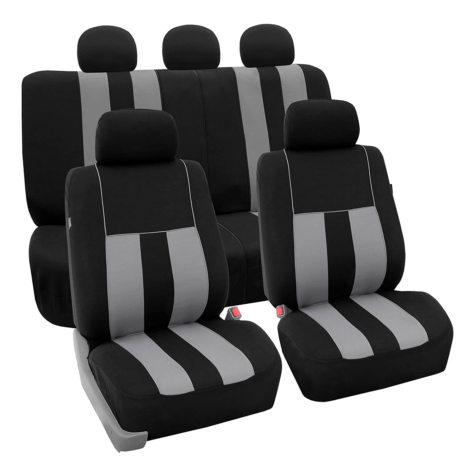 FH Group FB030115-SEAT Light & Breezy Burgundy/Black Cloth Seat Cover Set Airbag & Split Ready- Fit Most Car, Truck, SUV, or Van