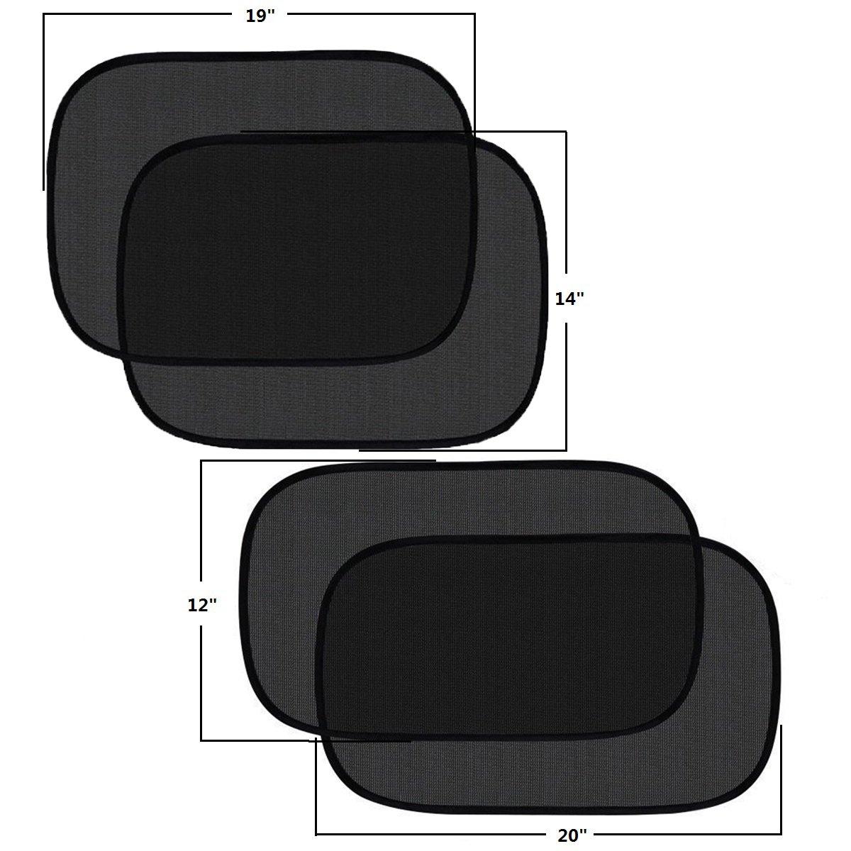 Baby Side Window Car Sun Shades 20x 12 and 19x 14 20x12/&19x14 Sunshade for Car Side Window Clings 80GSM UPF50+ Blocks Over 99/% of Harmful UV Rays Pulaisen Car Window Shade
