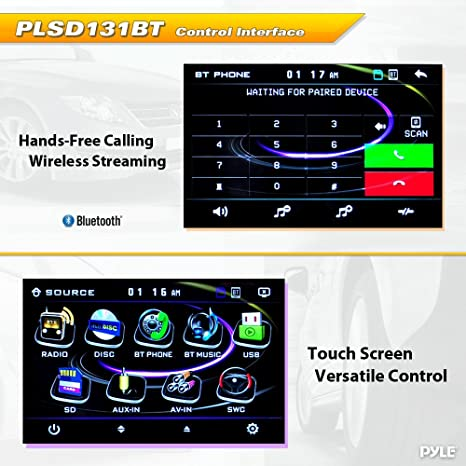amazon com: pyle plsd131bt bluetooth 13 1-inch hi-res touch screen  multimedia receiver head-unit, motorized and detachable display: car  electronics
