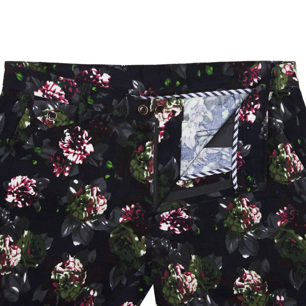 WEEN CHARM Mens Premium Floral Printed 2-Piece Suit for Wedding Party Date Blazer Jacket Coat Pants Set