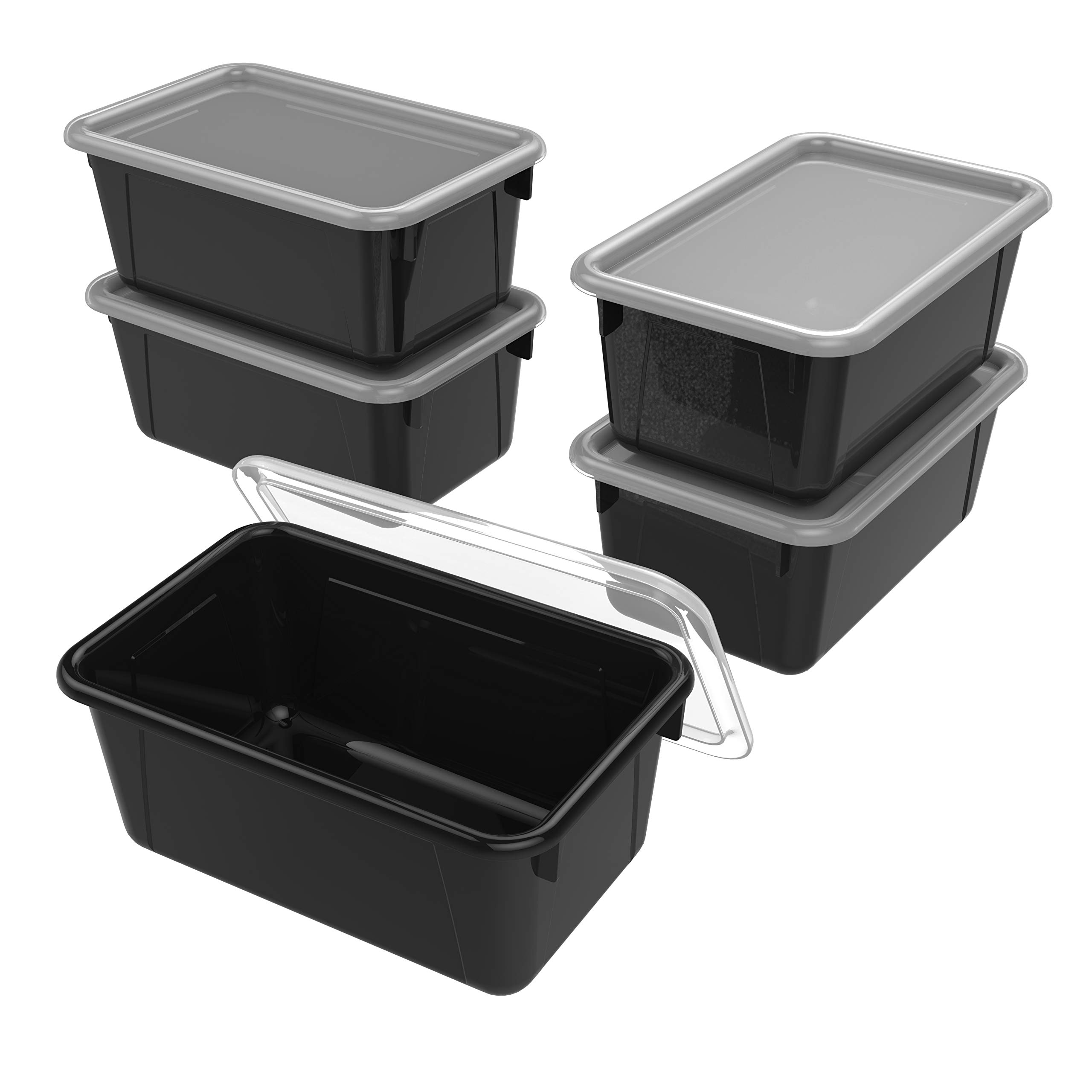 Storex Small Cubby Bin with Cover, 12.2 x 7.8 x 5.1 Inches, Black, 5-Pack (62463U05C)