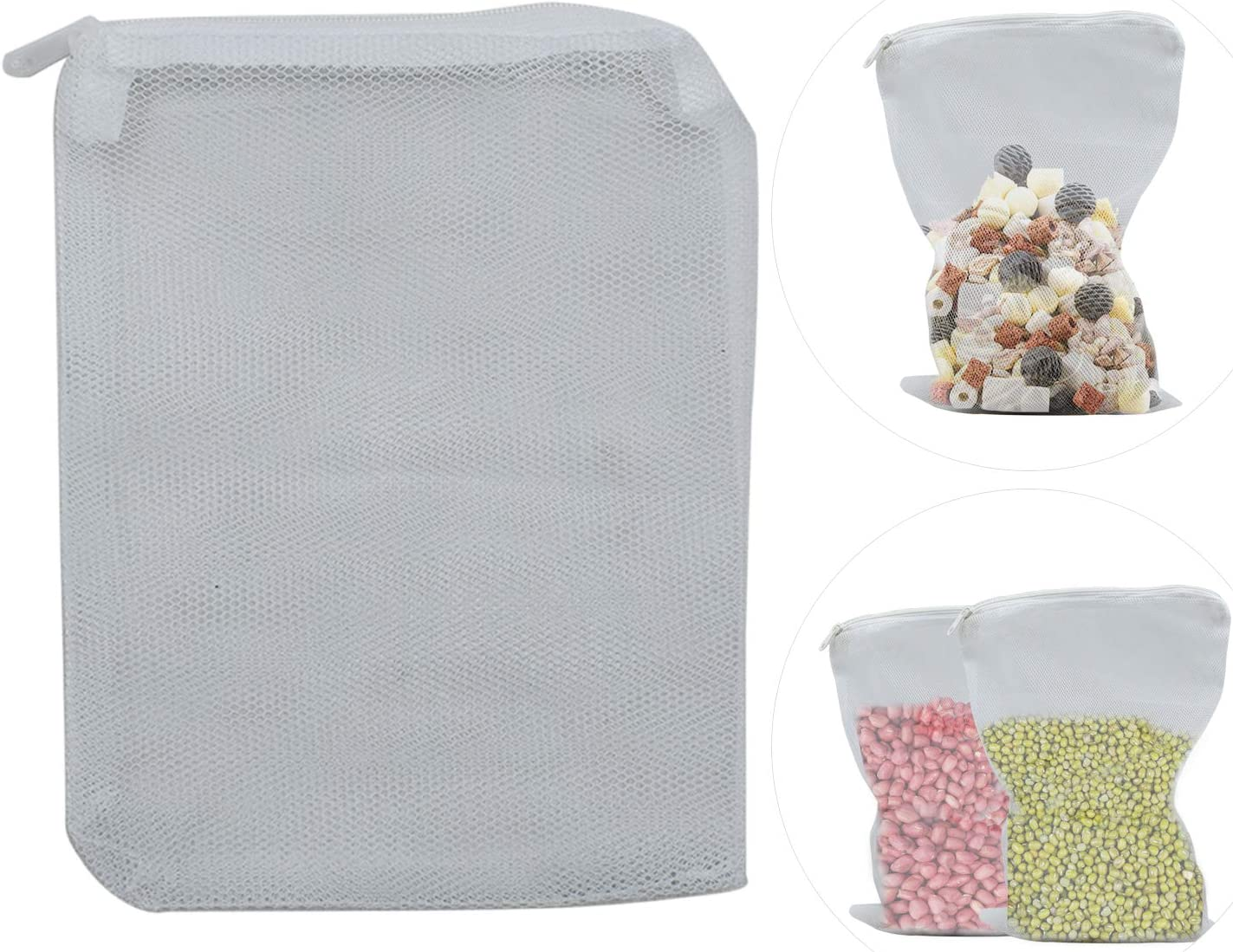 4 Size of Set White Aquarium Filter Net Bags Nylon Mesh Bags with Plastic Zipper Fish Tank Net Bags Food Storage Bag for Pellet Activated Carbon,Bio Balls,Ceramic Rings,Biospheres