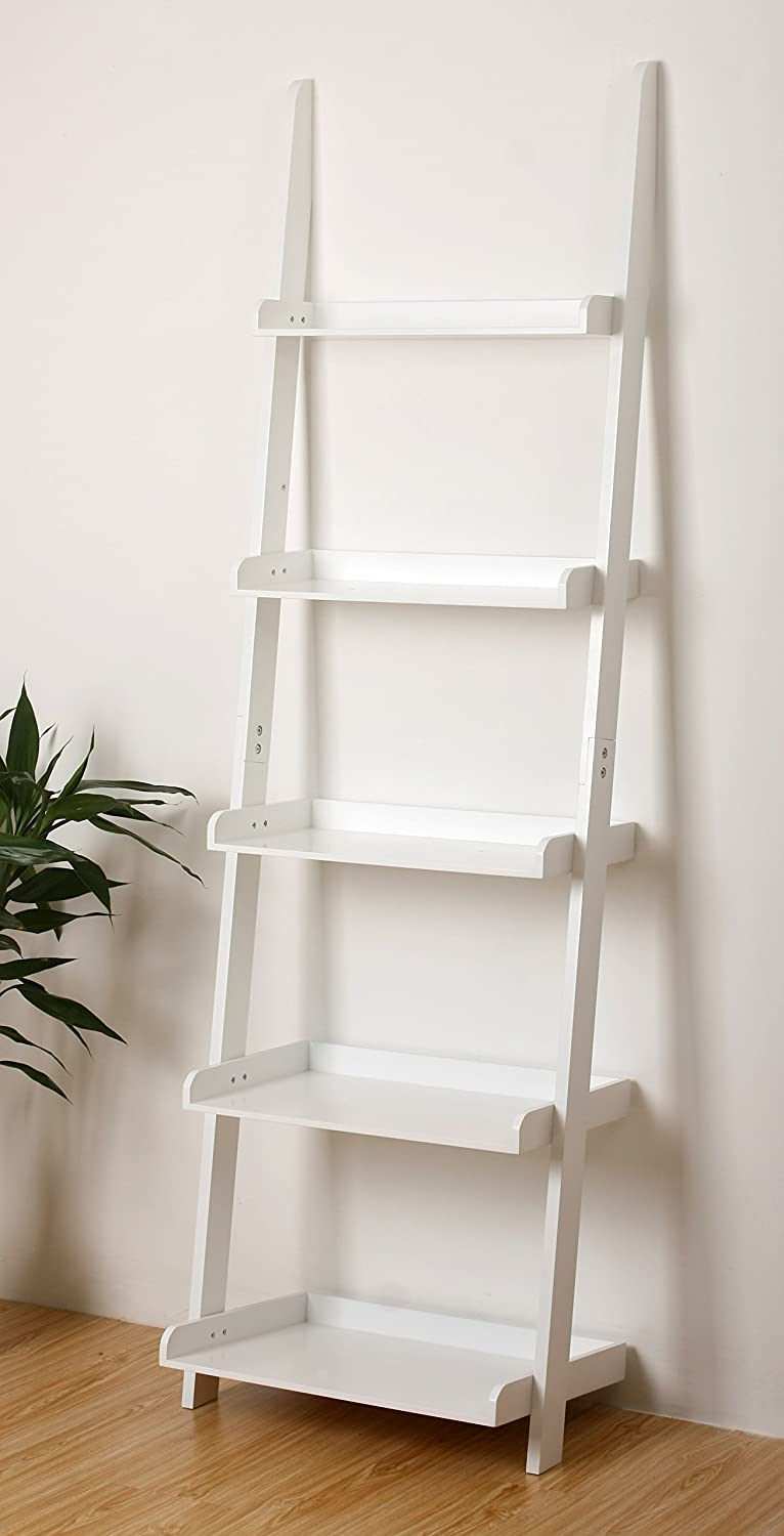 "eHemco 5 Tier Leaning Ladder Book Shelf in White Finish 21-5/8""W X70""H Chicago Stool & Chair Inc."