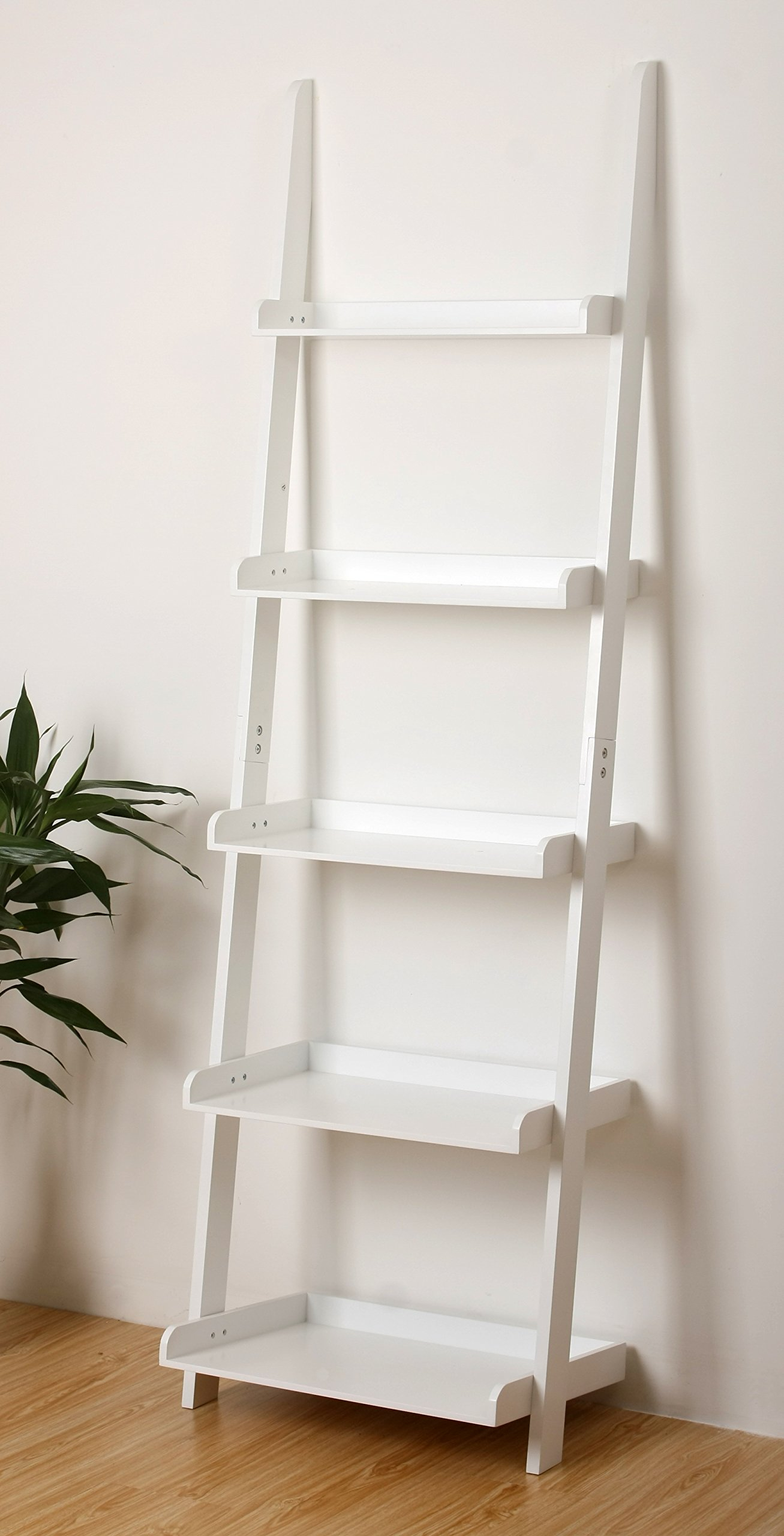 eHemco 5 Tier Leaning Ladder Book Shelf in White Finish 21-5/8''W X70''H by eHemco