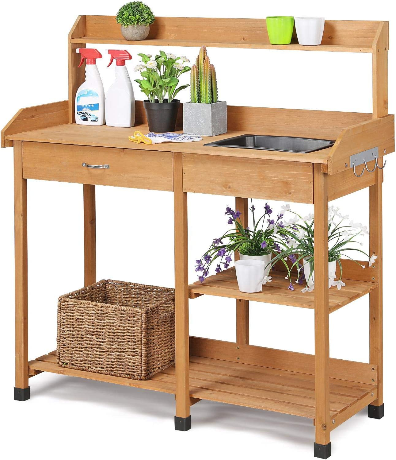 Lakewood 3 Person Swing, Amazon Com Topeakmart Outdoor Garden Potting Bench Potting Table Work Bench With Removable Sink Drawer Rack Shelves Work Station Wood Garden Outdoor
