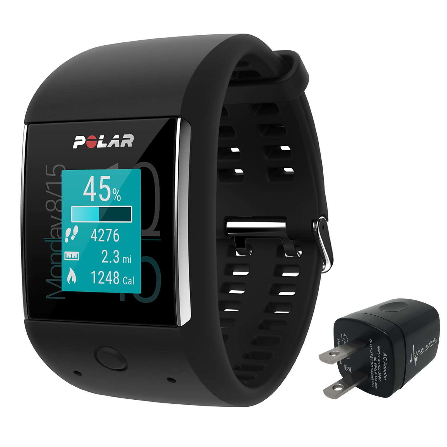 Polar M600 Sports Smart Watch With Built-In GPS and Heart Rate Monitor and Wearable4U Wall Chargind Adapter Bundle (Black)