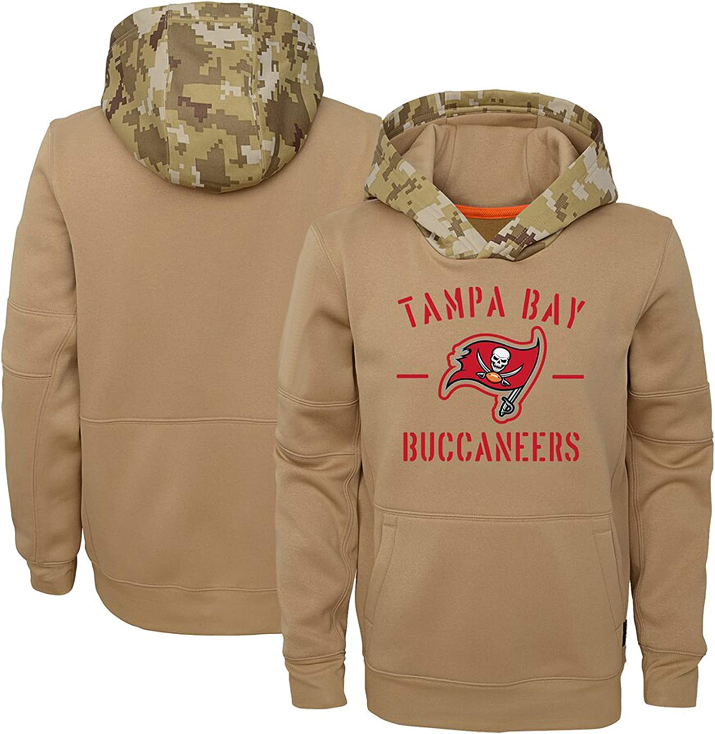Nobrand Youths//Boys//Girls/_Youth Tampa Bay Buccaneers Khaki 2020 Salute to Service Therma Pullover Hoodie