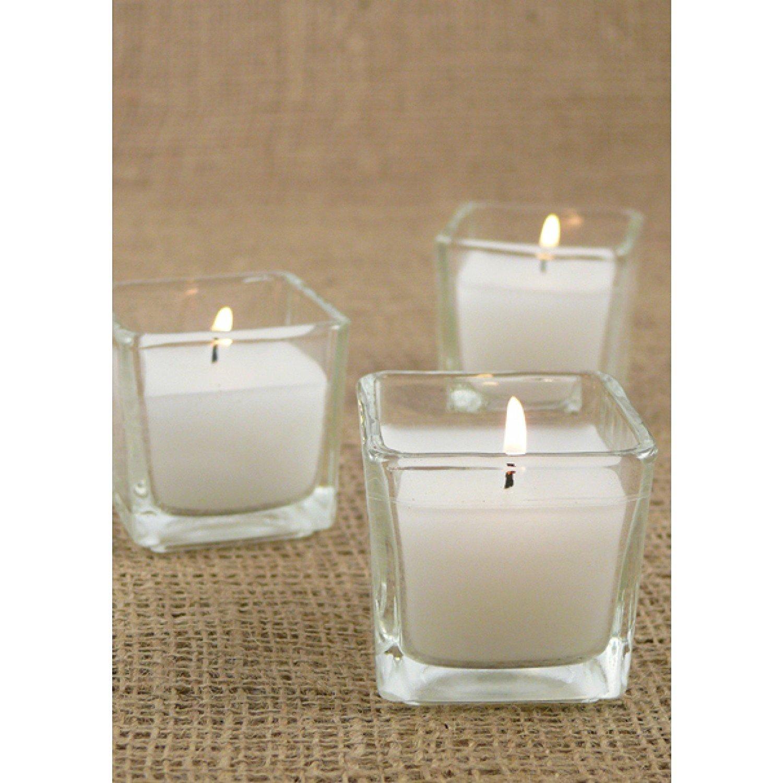 D'light Online 2 Inch Cube Votives Poured Votive Filled Glass Votive Candles - Set of 75 (White, 10 Hour Squared Poured Votive)