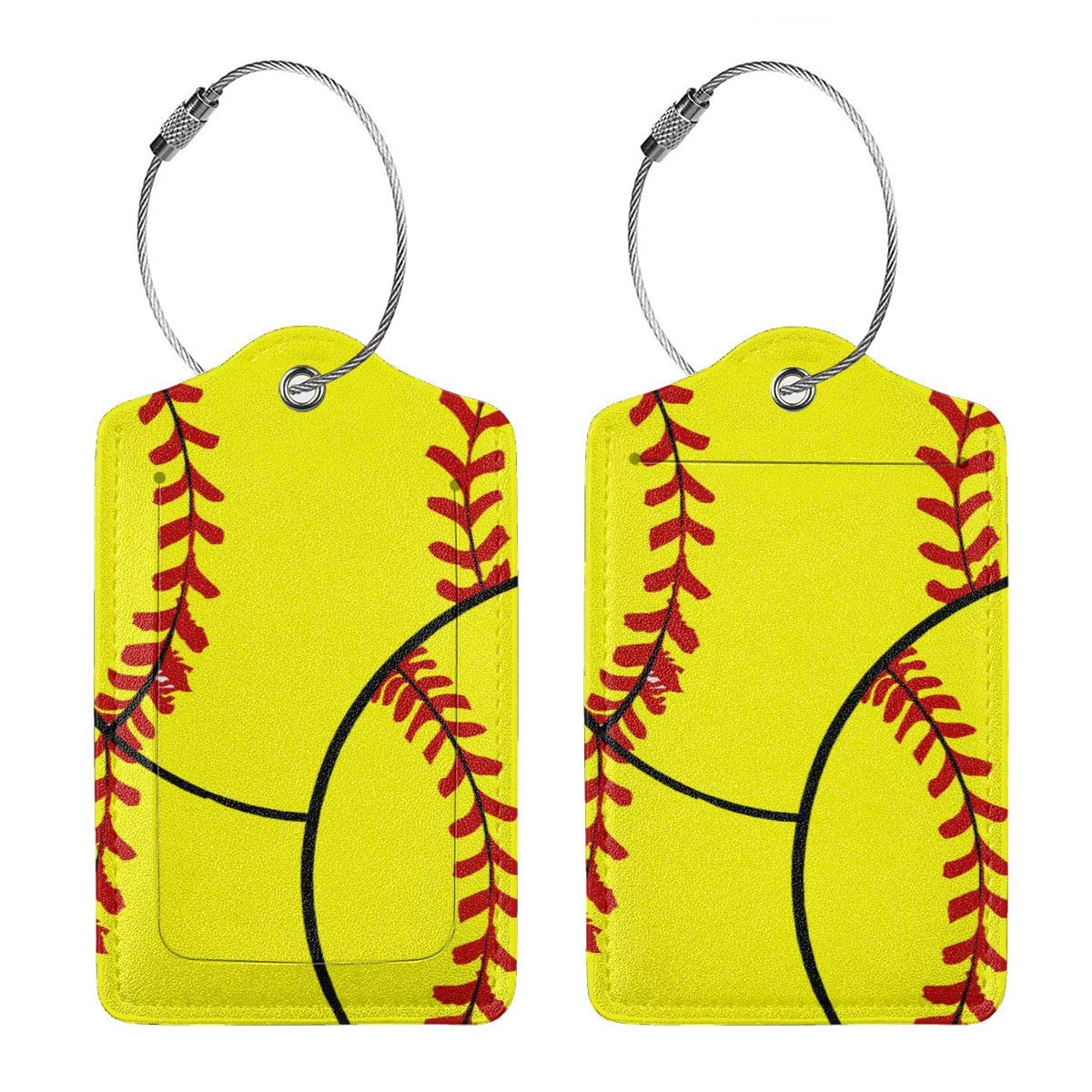 Softball Travel Luggage Tags With Full Privacy Cover Leather Case And Stainless Steel Loop