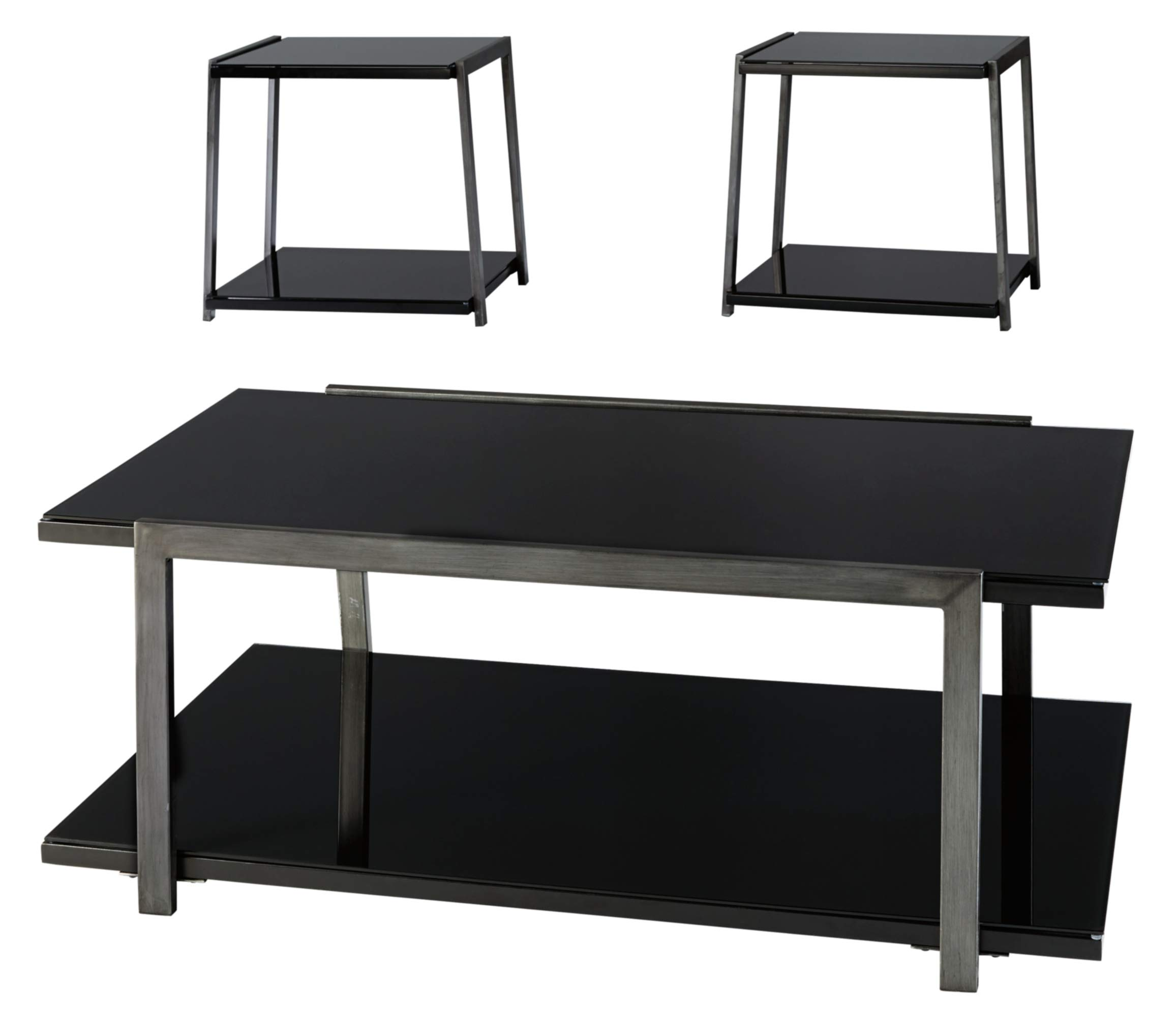 Ashley Furniture Signature Design - Rollynx Contemporary 3-Piece Occasional Table Set - Includes Cocktail Table & Two End Tables - Black by Signature Design by Ashley