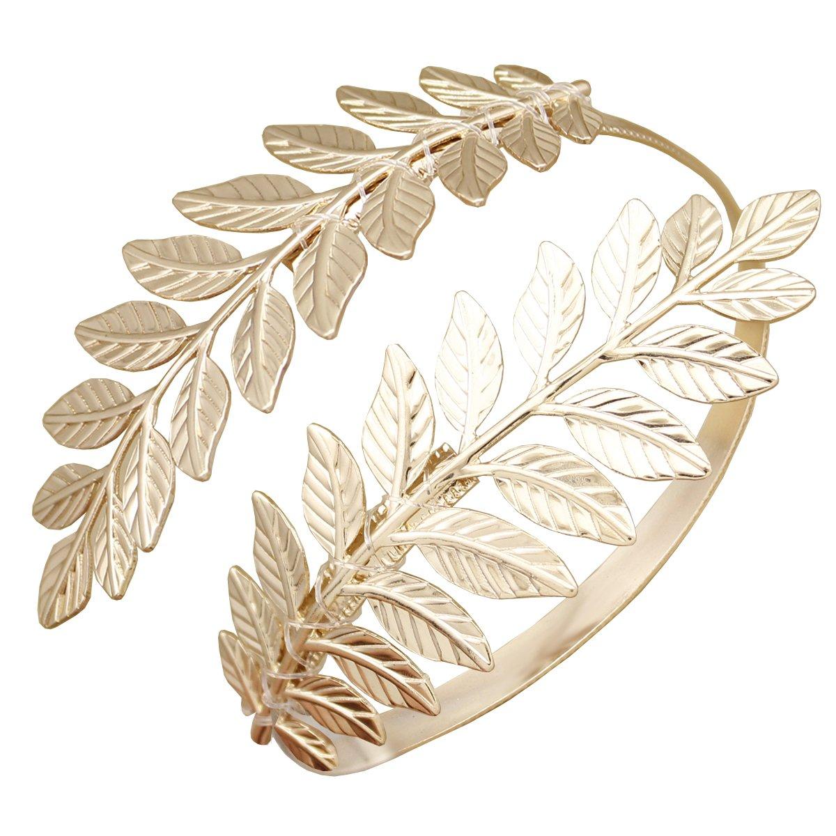 RechicGu Greek Roman Laurel Leaf Bracelet Armband Upper Arm Cuff Armlet Festival Bridal 80514