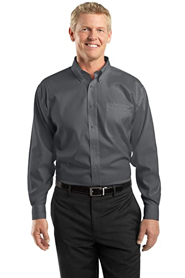 cd9cb423d11 Amazon.com  Red House-Non-Iron Pinpoint Oxford Shirt. RH24 Charcoal ...