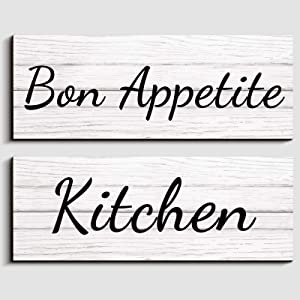 Jetec 2 Pieces Bon Appetite and Kitchen Rustic Kitchen Wall Decor Wooden Sign Wall Decor Vintage Farmhouse Style Kitchen Decorative Wall Decor for Kitchen, Dining Room, 13.7 x 5 x 0.2 Inch White