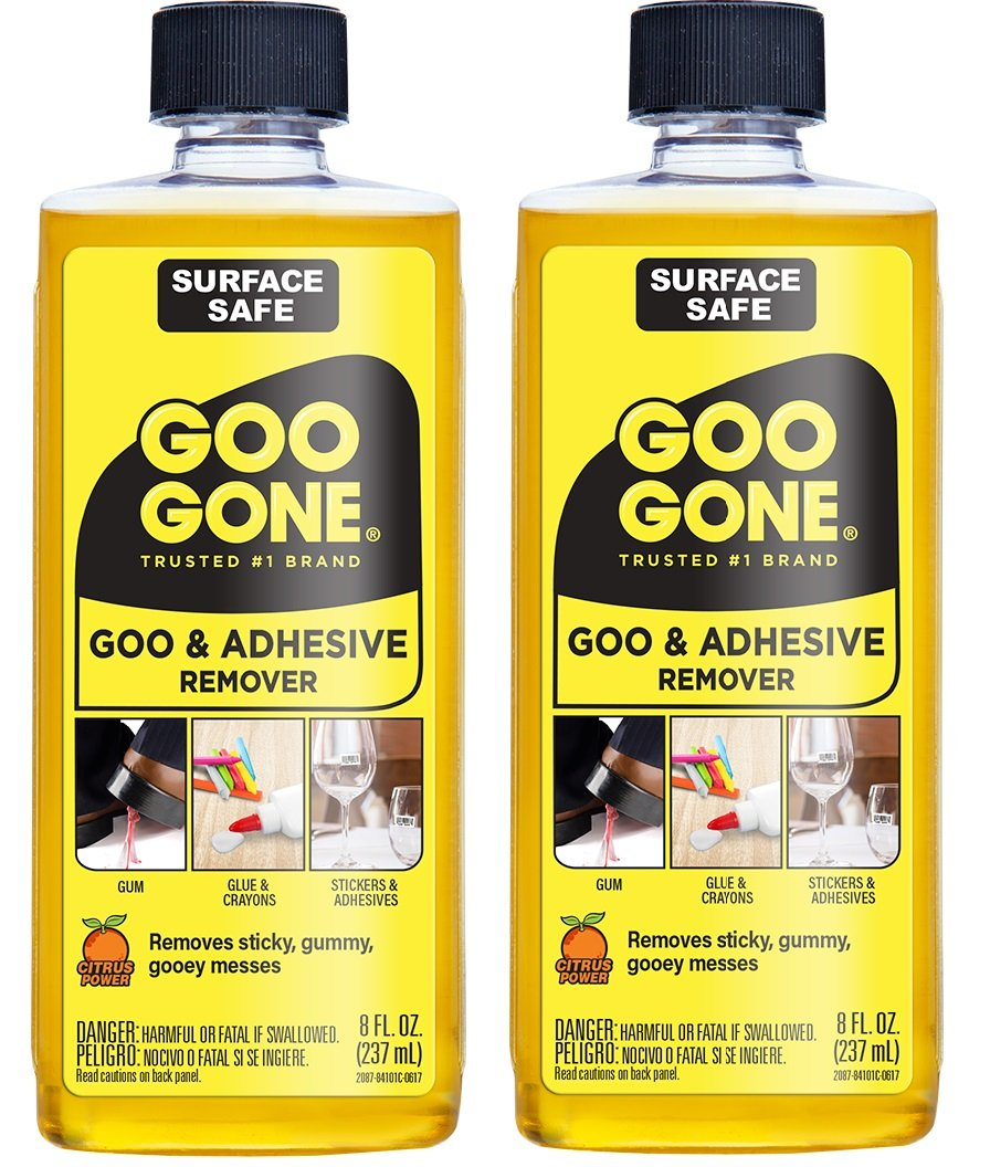 Goo Gone Original Liquid - 2 Pack - 8 Ounce - Surface Safe Adhesive Remover Safely Removes Stickers Labels Decals Residue Tape Chewing Gum Grease Tar Crayon Glue