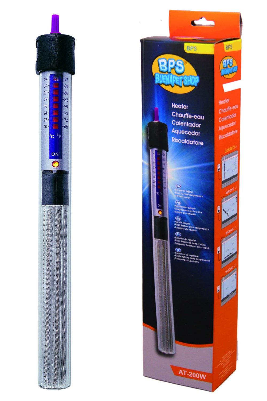 BPS (R) Calentador Sumergible para Pecera Calefacción de Varilla para Acuario Glass Tanque de Pescados con Termómetro y Ventosa 150W - 26.5 cm BPS-6053: ...