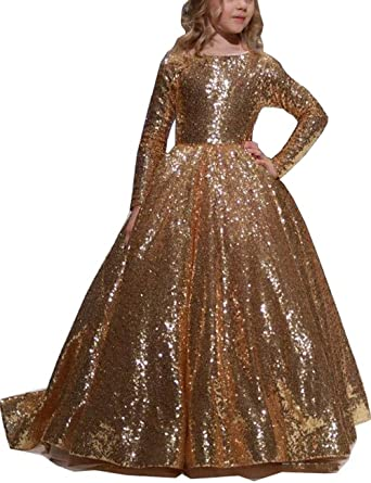 7e78f79bc756f Amazon.com  MuchXi Girl s Sequin Flower Girl Dress Mesh Party Pageant  Dresses Long Sleeves Ball Gowns for Kids  Clothing