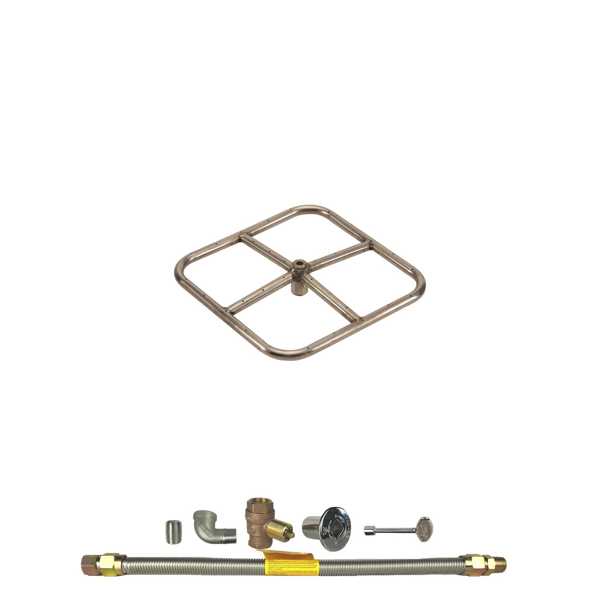 Spotix HPC Square Fire Pit Burner Kit (FPSSQ18KIT-NG-MSCB), 18x18-Inch Burner, Match Light, Natural Gas by Spotix