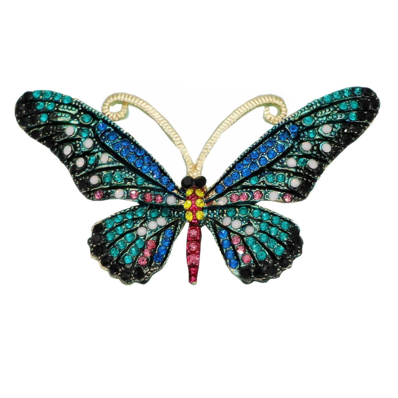 Mondora Prom Brooch Pin Animal Buttwefly Enamel Women's Austrian Crystal Gold-Tone Blue
