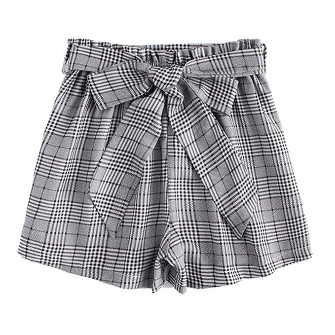 8d9e6201b46d76 Pantaloncini scozzesi bassa pantaloni corti bassa alta donna Pantaloncini  eleganti donna elastici in vita ufficio: Amazon.it: Abbigliamento