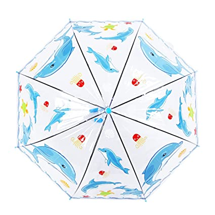 THUNFER Paraguas Paraguas Transparente Paraguas De Viaje Parasoles Paraguas Para Niños Automático Portátil,Blue