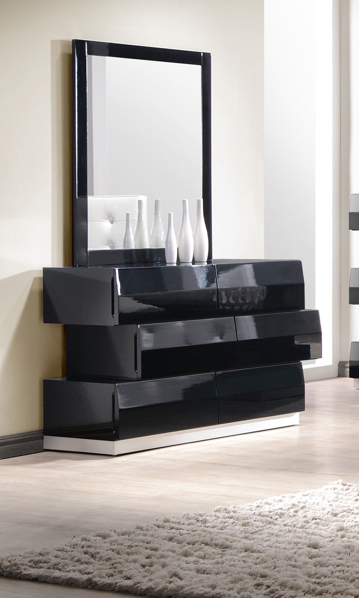 J and M Furniture Milan Dresser & Mirror in Black by J&M Furniture