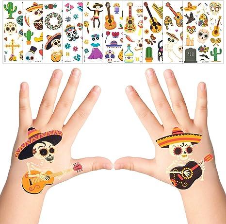 Apipipi 30 Hojas de Tatuajes temporales de Fiesta Mexicana: más de ...