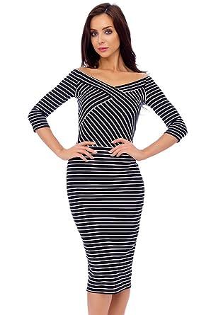 Black & White Stripe Criss Cross Midi Dress UK Size 14