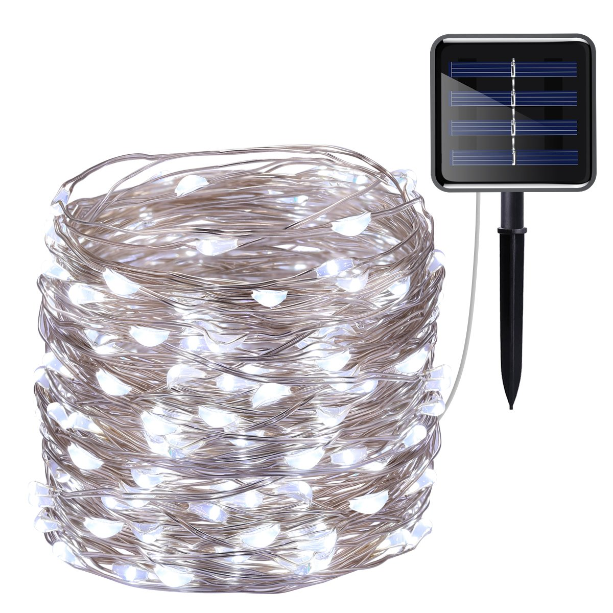AMIR Solar Powered String Lights, 100 LED Copper Wire Lights, Starry ...