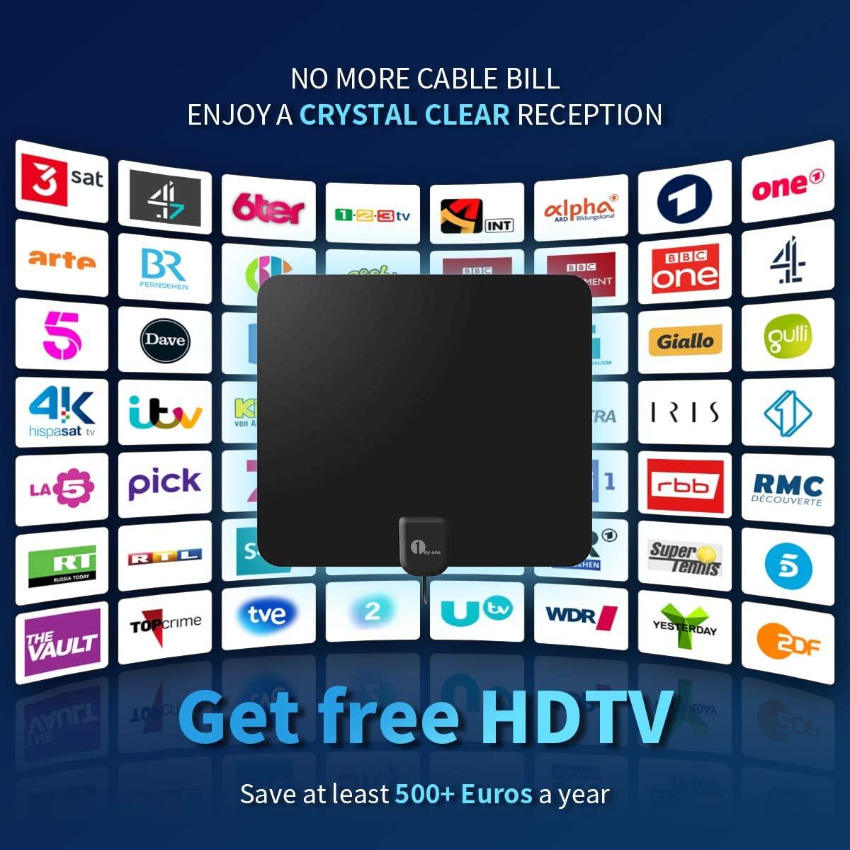 Antena de TV Interior,1byone TV Antena Digital para Interiores con Amplificador Inteligente de Señal 4K,1080P HD, de Alcance de 80KM,Cable Coaxial de 4M-Negro: Amazon.es: Bricolaje y herramientas
