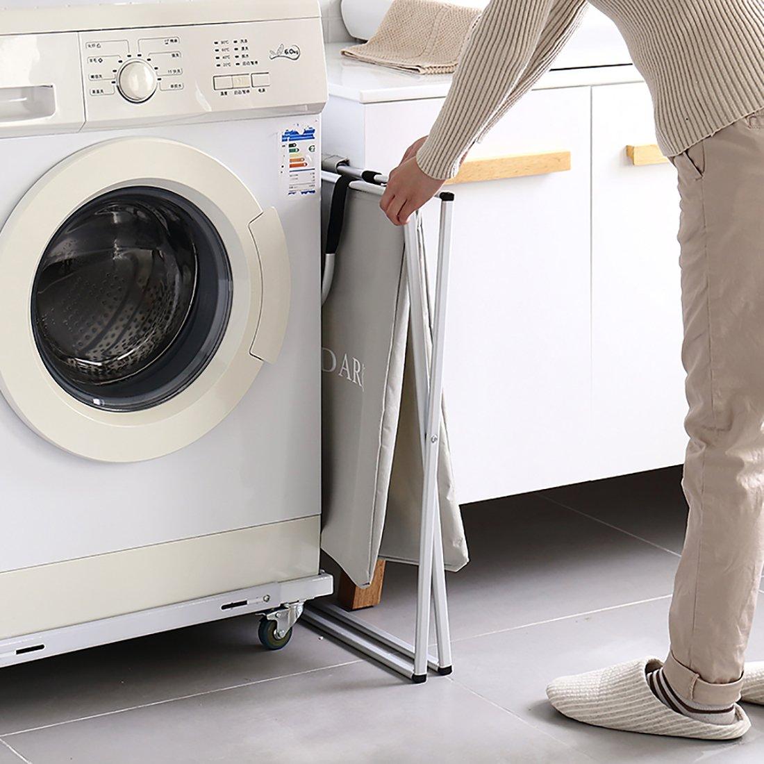 Ihomagic Cesto para Ropa Sucia Plegable Bolsa Colada para Baño Con Doble Compartimiento Organizador Lavandería Resistente para Cocina Dormitorio Hotel Viaje ...