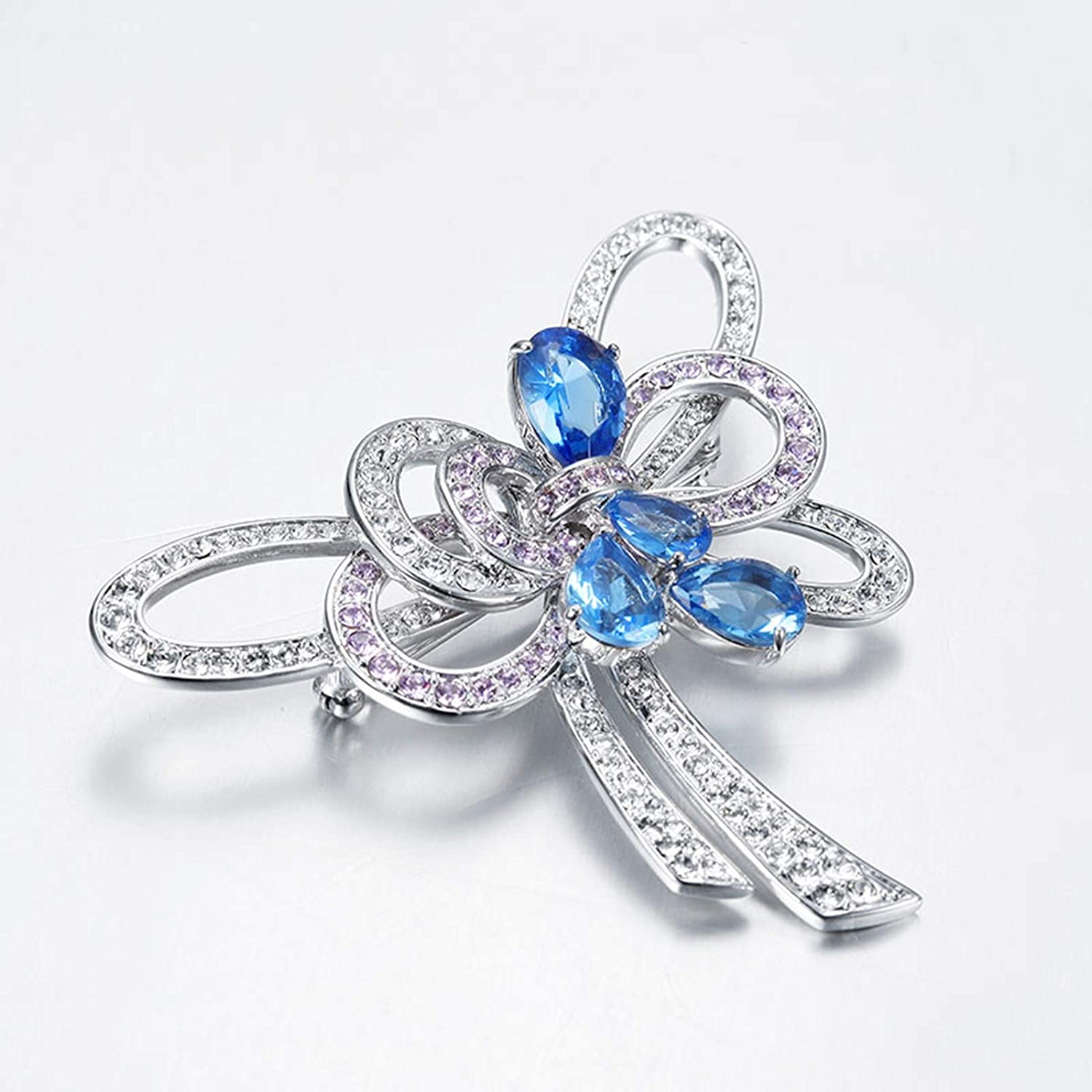 Aokarry Women Brooch Silver Plated Hollow Bowknot with CZ Brooch Silver