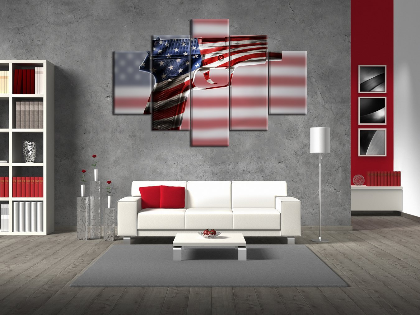Retro Painting on Canvas Gun Closeup American Flag Wall Art Patriotic Concept USA Independence Day 5 Panel Vintage Artwork Print Giclee for Living Room Home Decoration Stretched Framed(60''W x 40''H) by Yatsen Bridge