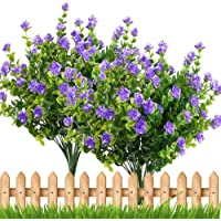 TOOGOO 4pcs Fake Plants Artificial Greenery Shrubs Eucalyptus Branches with Purple Baby's Breath Flower Plastic Bushes House Office Garden Patio Yard Indoor Outdoor Decor