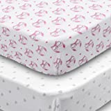 Amazon Price History for:Playard Sheets, 2 Pack Owls & Hearts Fitted Soft Jersey Cotton Playpen Bedding