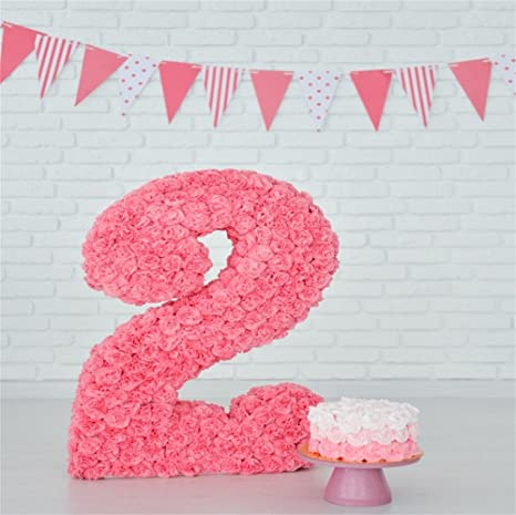 LFEEY 8x8ft Kids Second Birthday Cake Smash Photography Backdrops Baby Children Boy Girl 2nd Party
