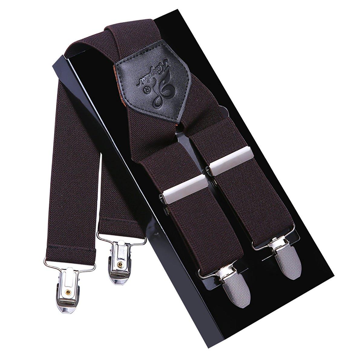 KANGDAI Hommes Bretelles Bretelles Pour Hommes 4 Boucles X Retour Rayé Heavy Duty Hommes Bretelles Durable Élastique Réglable Bretelles Forte En Métal Clips