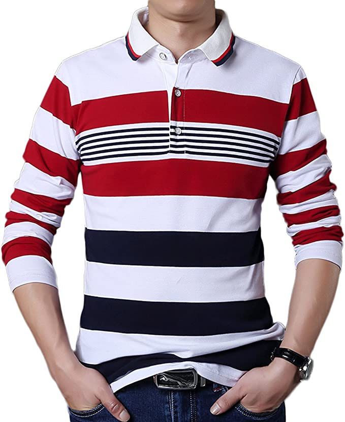 LEOCLOTHO Hombre Tipped Camisa Polo Manga Larga Casuale Algodón ...