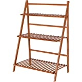 Giantex Plant Flower Stand Rack Shelf 3 Tier Bamboo Foldable Pot Racks  Planter Organizer Display