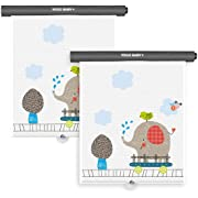 Car Roller Sunshade Deluxe Set of 2 Kids Elephant Retractable Car Window Sunshade Black Roller for Neat Look When not in use Blocks Sun & Keeps Car Cool