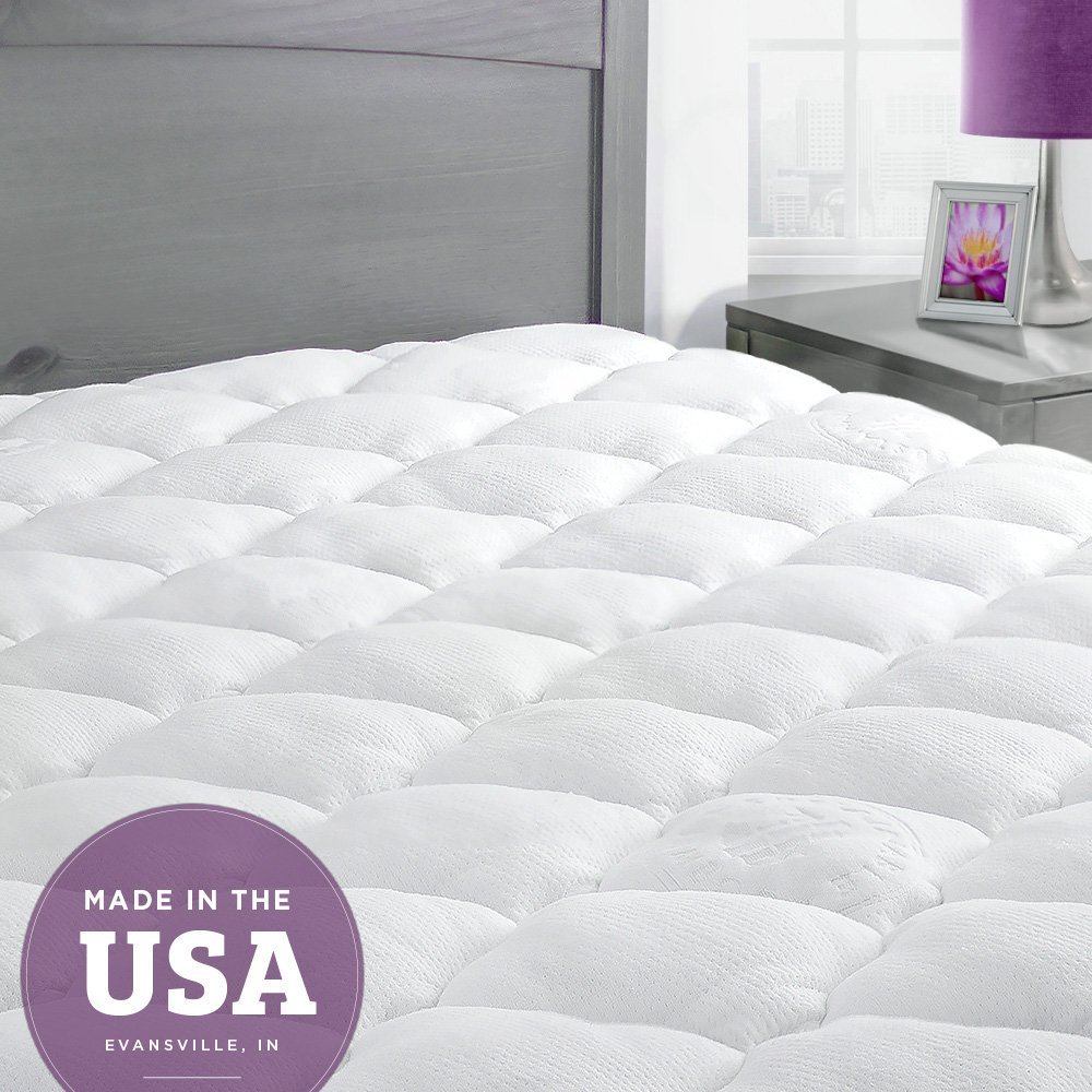 ExceptionalSheets Bamboo King Mattress Pad with Fitted Skirt and Extra Plush Cooling Topper