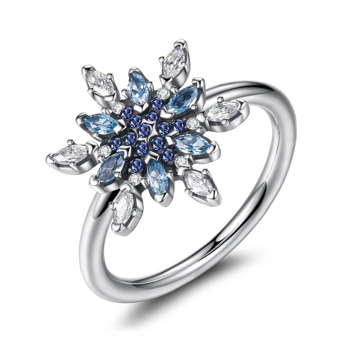 925 Sterling Silver Crystalize Snowflake, Blue Crystals & Clear CZ Ring Jewelry 6-7 (7)